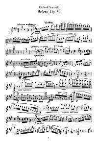Sarasate - Bolero for violin Op.30 - Instrument part - First page