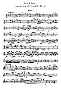 Sarasate - Introduction and tarantella Op.43 for violin - Instrument part - First page