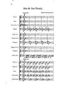 Sarasate - Jota de San Fermin op.36 for violin and orchestra - Piano part - First page