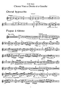 Satie - Choses Vues a Droite et a Gauche for violin - Instrument part - First page