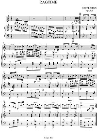 Joplin - Ragtime for violin - Piano part - First page