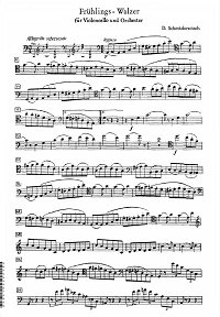 Shostakovich - Fruhlingvalse (Spring valse) for cello and piano - Cello part - first page