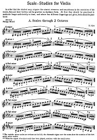 Sitt - Scales for violin - Instrument part - First page
