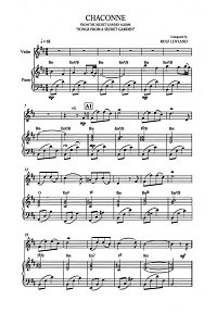 Song From A Secret Garden - Chaconne for violin and piano - Piano part - First page
