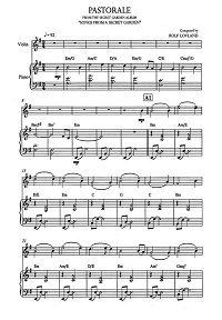 Song From A Secret Garden - Pastorale for violin and piano - Piano part - First page