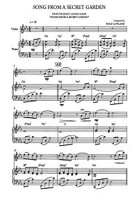 Song From A Secret Garden - Song From A Secret Garden for violin and piano - Piano part - First page