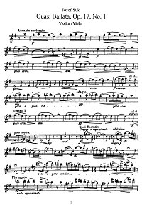Szuk - Ballade for violin - Instrument part - First page