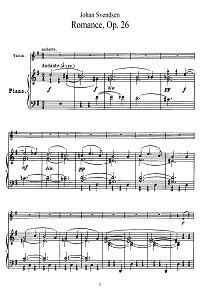 Svendsen - Romance for violin op.26 - Piano part - First page