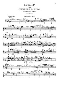 Tartini - Cello concerto in D major - Instrument part - first page