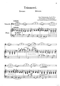 Tchaikovsky – Sweet dreams Op. 39 No. 21 for cello and piano - Piano part - First page