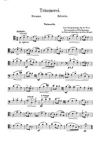 Tchaikovsky – Sweet dreams Op. 39 No. 21 for cello and piano - Instrument part - First page