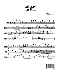 Tchaikovsky - Lullaby op.16 N1 for cello and piano - Instrument part - first page
