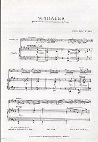 Tortellier - Spirals for cello - Piano part - First page
