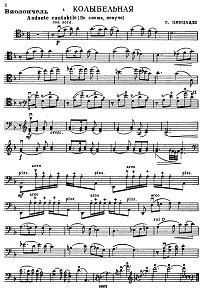 Tsintsadze - Lullaby for cello and piano - Instrument part - first page