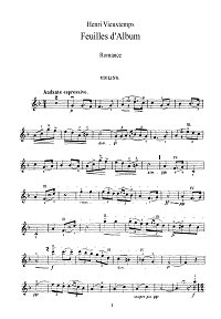 Vieuxtemps - Album leaves for violin op.40 N1 - Instrument part - First page