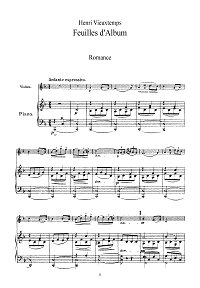 Vieuxtemps - Album leaves for violin op.40 N1 - Piano part - First page