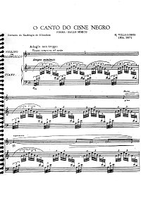 Villa Lobos - O Canto do cisne negro Poema for cello and piano - Piano part - first page