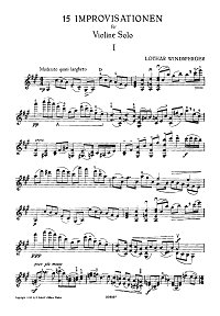 Windshpreger - 15 improvisations for violin solo - Instrument part - first page