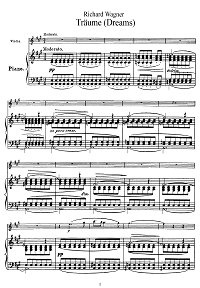 Wagner - Dreams for violin - Piano part - First page