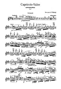 Wieniawski - Valse - capriccio for violin Op.7 - Instrument part - first page