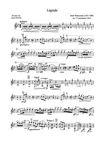 Wieniawski - Legende Op.17 - for violin and piano - Instrument part - first page