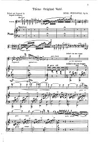 Wieniawski - Variations on original theme op.15 for violin - Piano part - first page
