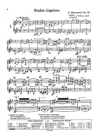 Wieniawski - Exercices - caprices for two violins Op.18 - Instrument part - First page