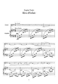 Ysaye - Reve d Enfant for violin - Piano part - First page