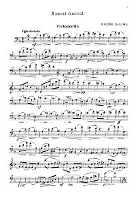 Gliere - Musical moment for cello and piano op.35 - Instrument part - first page