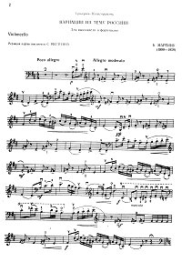 Martinu - Variations on Rossini theme for cello and piano - Instrument part - First page