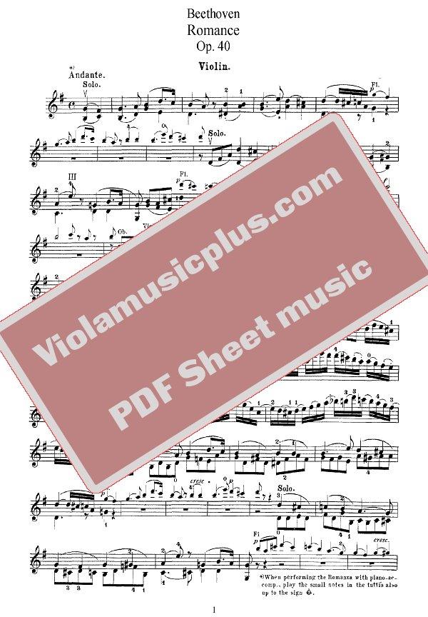 sad romance sheet music violin pdf