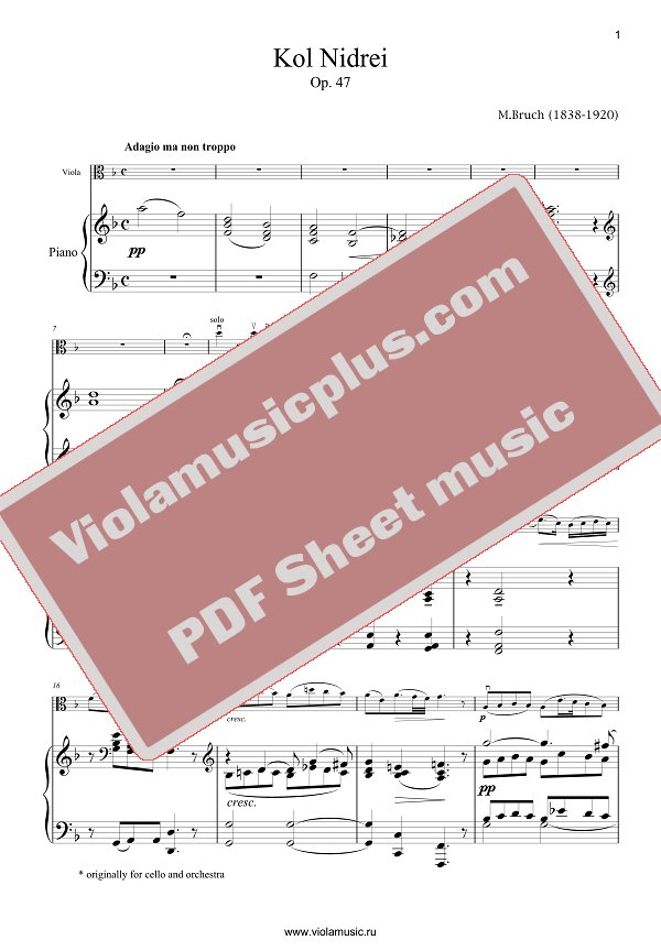 Bruch Kol Nidrei For Viola Viola Sheet Music Violin sheet music of bollywood songs with treble clef lyrics and chords with full music and new violin song book: bruch kol nidrei for viola viola sheet music
