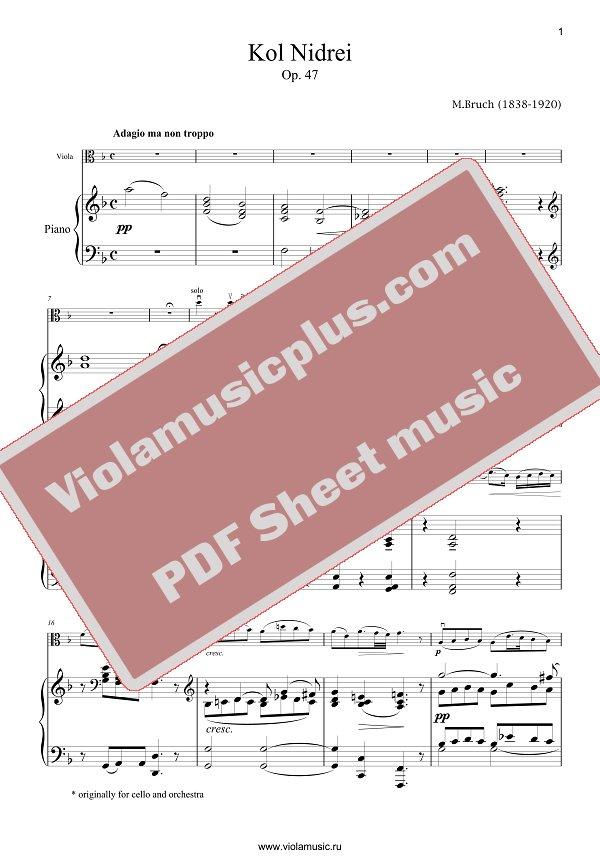 All Music Chords kol nidrei cello sheet music : Bruch - Kol Nidrei for viola | Viola sheet music