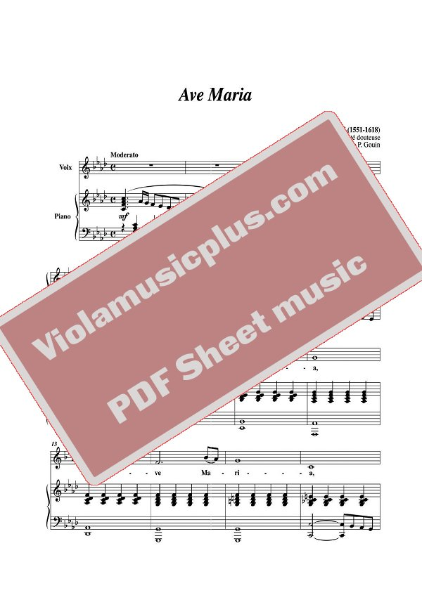 Piano ave maria sheet music piano : Caccini - Ave Maria for violin | Violin Sheet Music