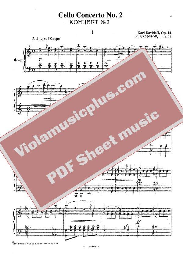 Davydov Concert 2 Op 14 For Cello And Piano Cello Sheet Music