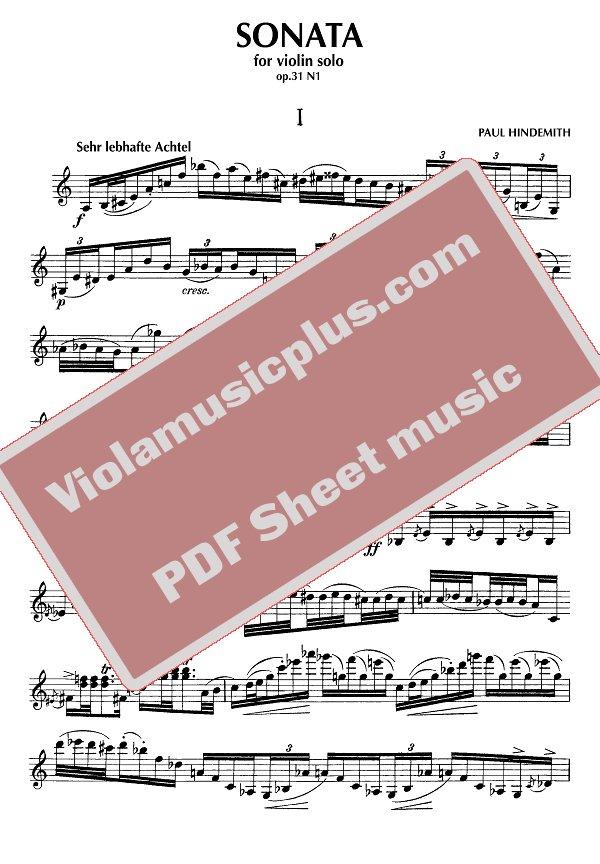 Hindemith - Sonata for violin solo op 31 N1 | Violin Sheet Music