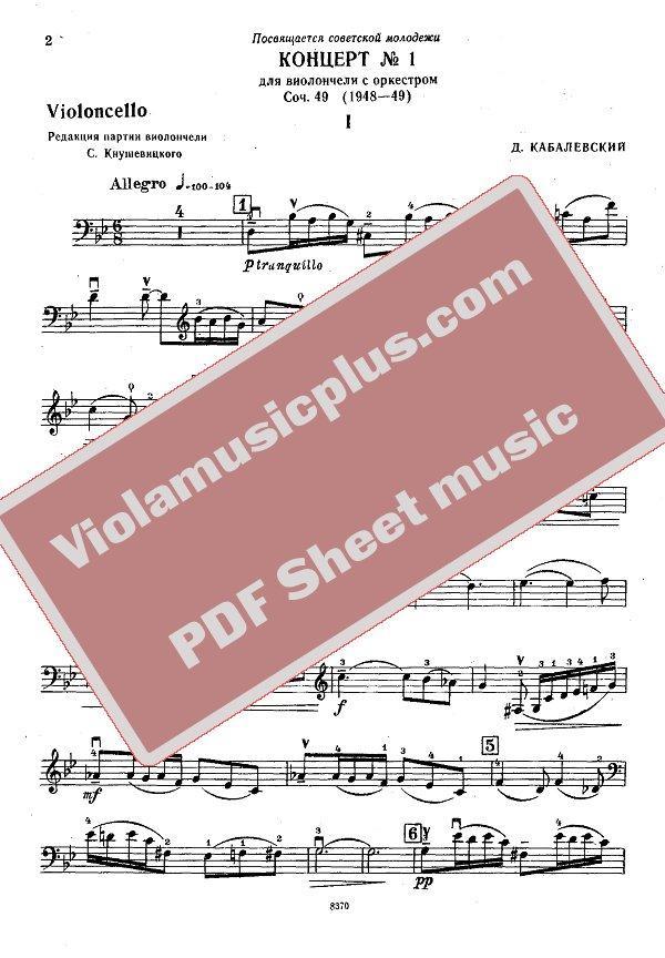 Violin kabalevsky violin concerto in c major sheet music : Kabalevsky - Cello concerto N1 op.49   Cello sheet music