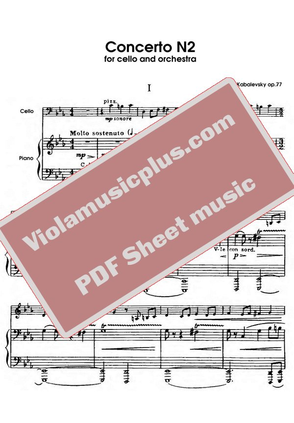 Violin kabalevsky violin concerto in c major sheet music : Kabalevsky - Cello concerto N2 op.77   Cello sheet music