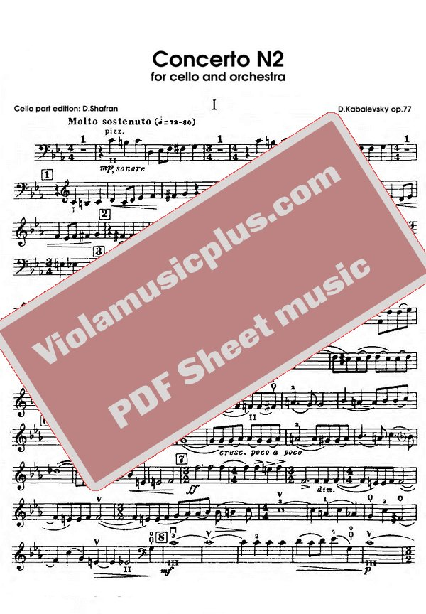 Violin kabalevsky violin concerto in c major sheet music : Kabalevsky - Cello concerto N2 op.77 | Cello sheet music