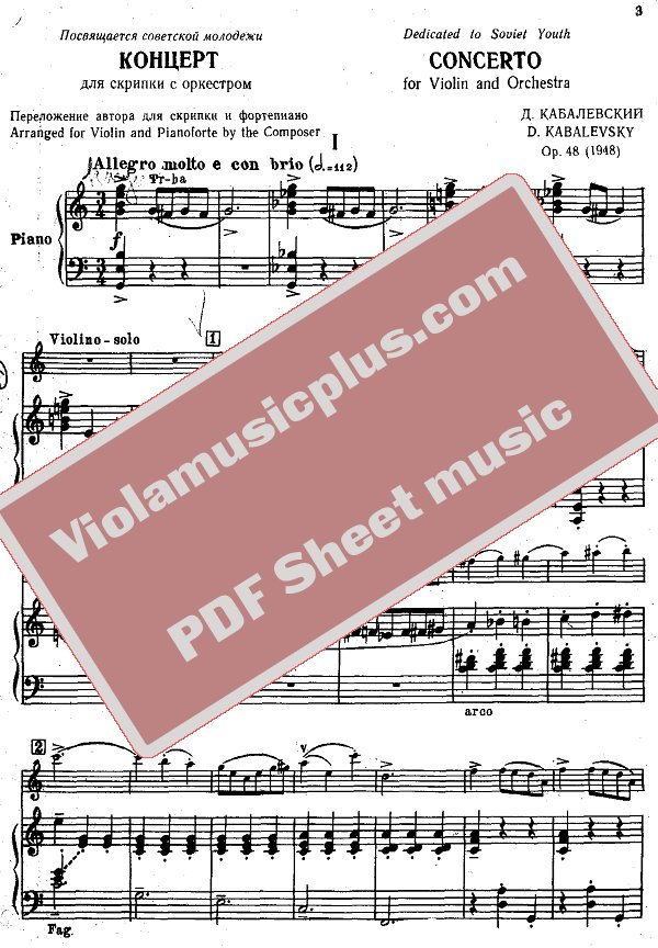 Violin kabalevsky violin concerto in c major sheet music : Kabalevsky - Violin concerto op.48 (Oistrakh Edition)   Violin ...