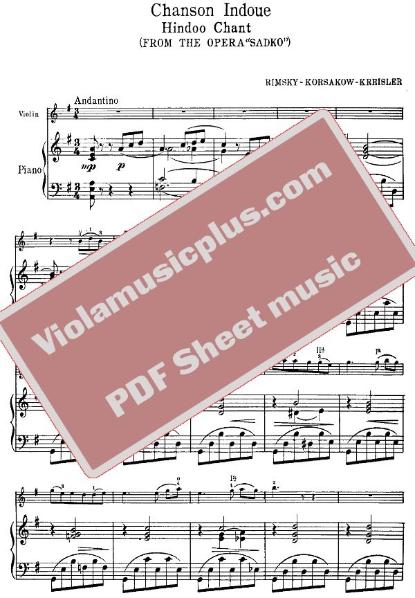 All Music Chords indian music sheet : Rimsky-Korsakov - Song of an Indian Guest for violin (Kreisler ...