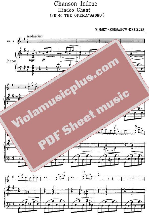 All Music Chords indian music sheet : Rimsky-Korsakov - Song of an Indian Guest for violin (Kreisler ...
