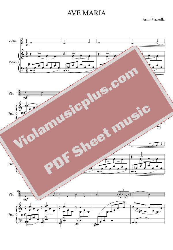 Piano ave maria sheet music piano : Piazzolla - Ave Maria for violin | Violin Sheet Music