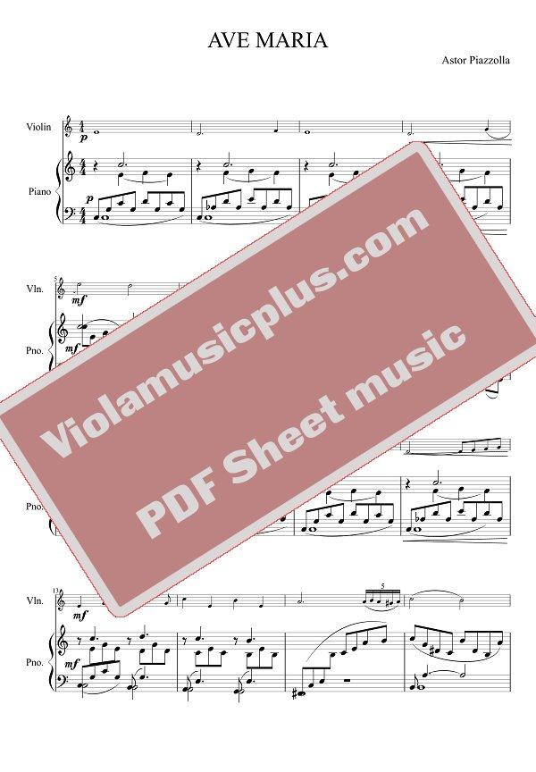 Piano ave maria sheet music piano : Piazzolla - Ave Maria for violin | Violin Sheet Music