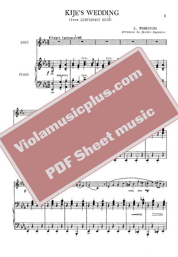 Piano a thousand years piano sheet music : Prokofiev - Lieutenant Kije wedding | Viola sheet music