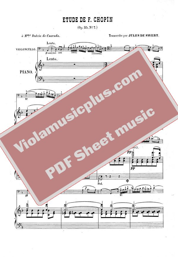 Chopin - Etude op 25 N7 for cello and piano | Cello sheet music