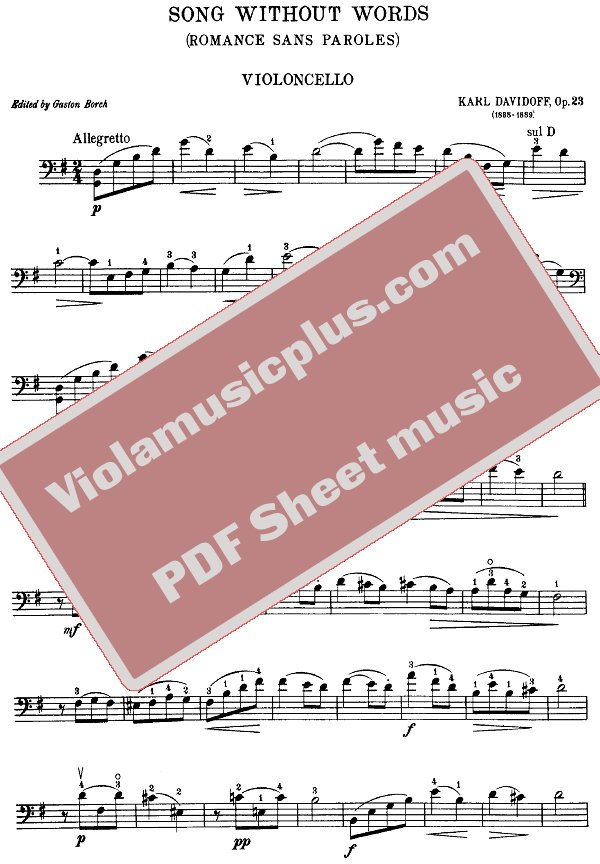 Davydov Song Without Words For Cello And Piano Cello Sheet Music