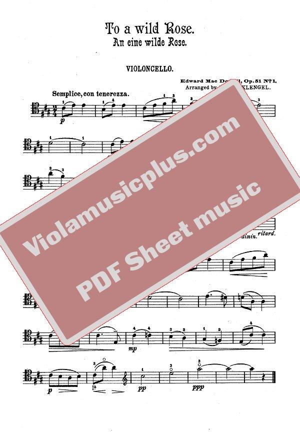 to a wild rose piano sheet music pdf