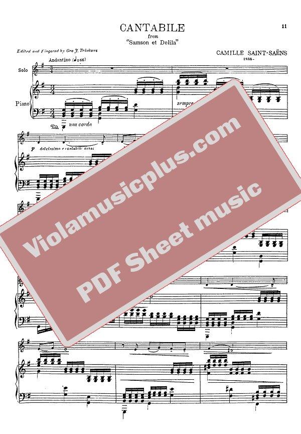 Saint-Saens - Cantabile for cello | Cello sheet music