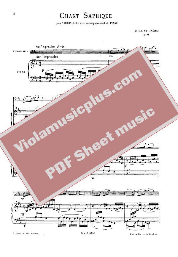 Saint-Saens - Saphique song for cello | Cello sheet music
